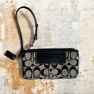 Small Coach Monogram Wristlet Black & Grey